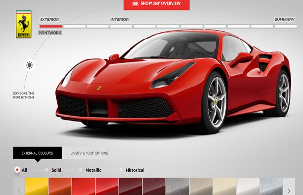 Configurador online Ferrari 488 GTB  (Foto: Reprodução)