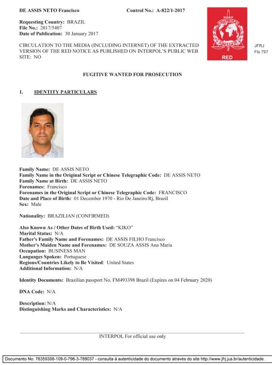 Procurado: ficha na Interpol do empresário Francisco de Assis Neto, conhecido como Kiko (Foto: Divulgação)