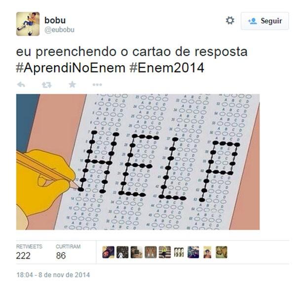 Meme do Enem mostra ilustração onde candidato pede 'socorro' pelo gabarito da prova (Foto: Reprodução/Twitter/eubobu)