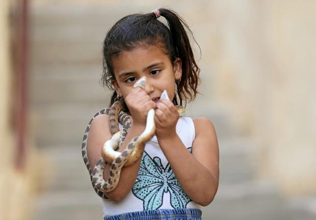 Apesar da pouca idade, menina não tem medo de segurar os répteis (Foto: Mohamed Abd El Ghany/Reuters)