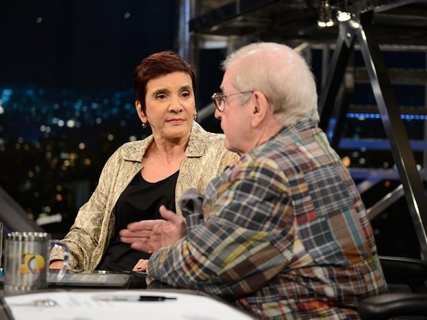 Lucia Hipólito participa da gravação do Programa do Jô (Foto: TV Globo/Programa do Jô)