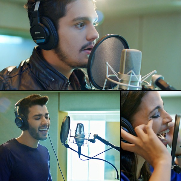 Luan Santana, Gusttavo Lima e Emanuelle Araújo cantam a música da Copa na Globo (Foto: Globo)