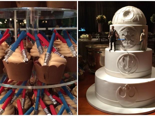 Bolo e doces da festa também foram baseados na saga Star Wars em Araraquara (Foto: Ana Carolina Malandrino/ G1)