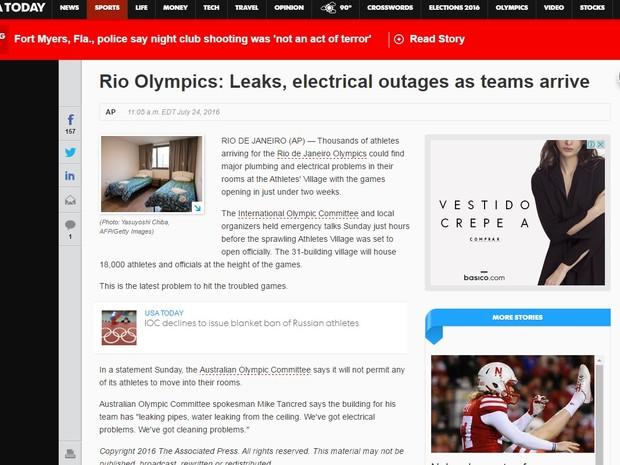 Jornal USA Today destacou que a dias dos Jogos, atletas que chegam enfrentam problemas nas acomodações. (Foto: Reprodução internet)