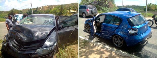 Honda Civic e BMW colidiram na avenida Prudente de Morais, na zona Sul de Natal (Foto: Larisse Souza/Inter TV Cabugi)