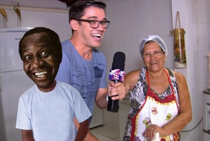 Marcão gostou tanto do almoço que até confundiu o nome da entrevistada (Foto: Reprodução / TV TEM)