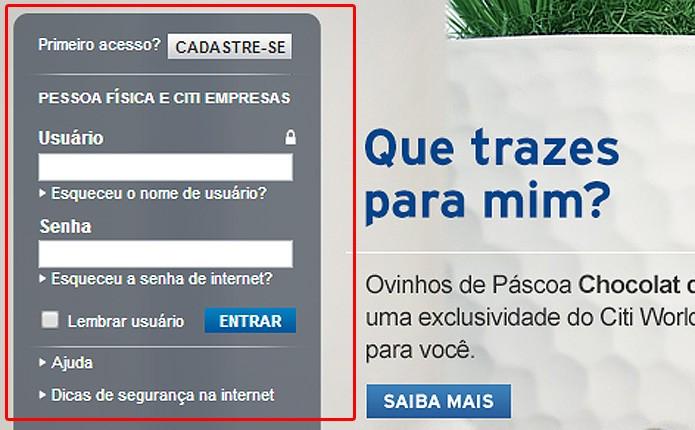 No Citi o usuário precisa fornecer seu nome de usuário e senha de Internet para o primeiro acesso ao serviço online (Foto: Reprodução/Karla Soares)