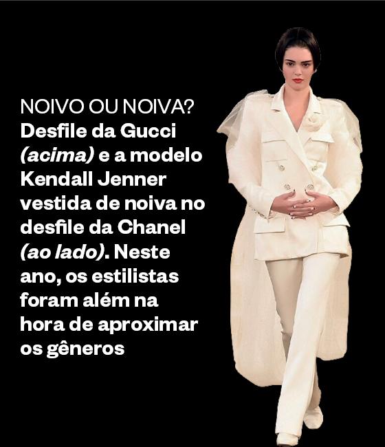 Kendall Jenner vestida de noiva no desfile da Chanel (Foto: Divulgação)