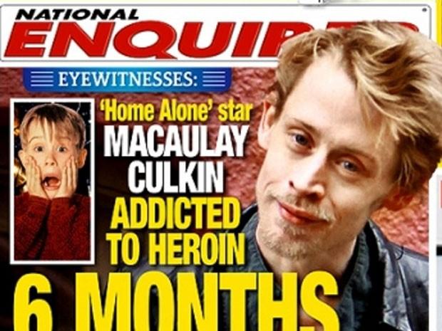 Macaulay Culkin está viciado em heroína, mostra capa do jornal 'The National Enquirer' (Foto: Reprodução/The National Enquirer)