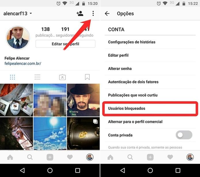 Acessando a lista de usuários bloqueados no Instagram (Foto: Reprodução/Felipe Alencar)