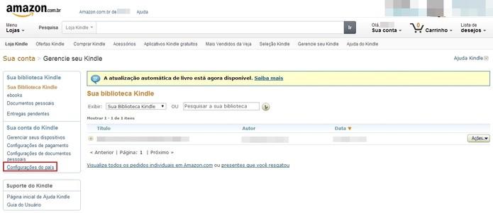 Clique em Configurações do país no menu esquerdo da página (Foto: Reprodução/Paulo Finotti)