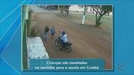Bandido assalta e aponta arma para crianças que iam para a escola