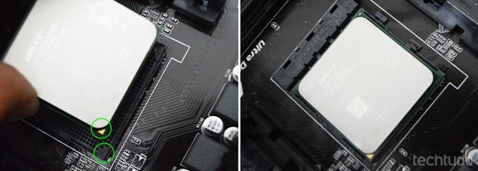 Observa a indicação no processador e no socket para encaixar na posição correta (Foto: Adriano Hamaguchi/TechTudo)