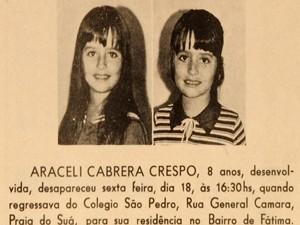 Desaparecimento de Araceli foi divulgado nos jornais da época, no Espírito Santo (Foto: CEDOC/ A Gazeta)