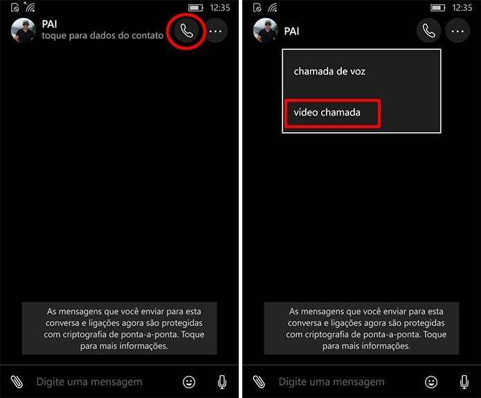 WhatsApp Beta do Windows Phone tem atalho para videochamadas em conversas (Foto: Reprodução/Elson de Souza)