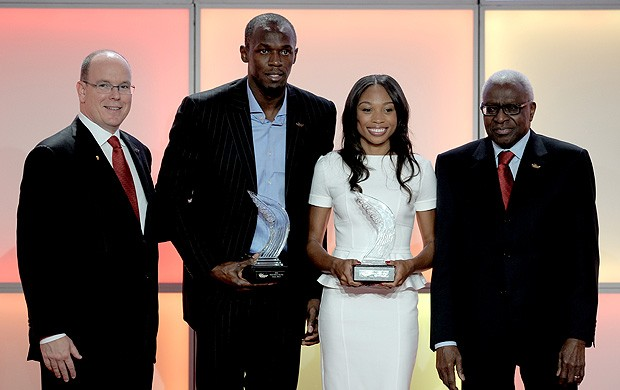 Bolt e Allyson Felix prêmio IAAF (Foto: AFP)