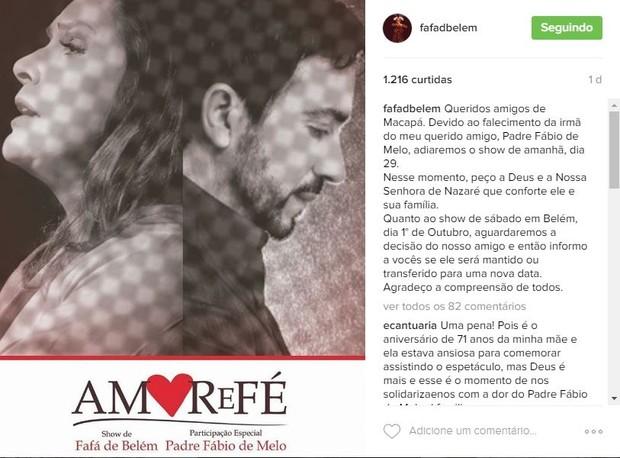 Fafá de Belém e Padre Fabio de Melo (Foto: Reprodução / Instagram)