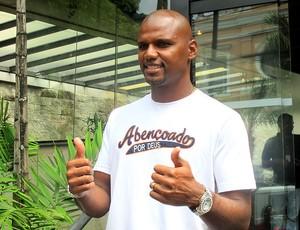 Jefferson do Botafogo no programa da TV (Foto: Thales Soares)