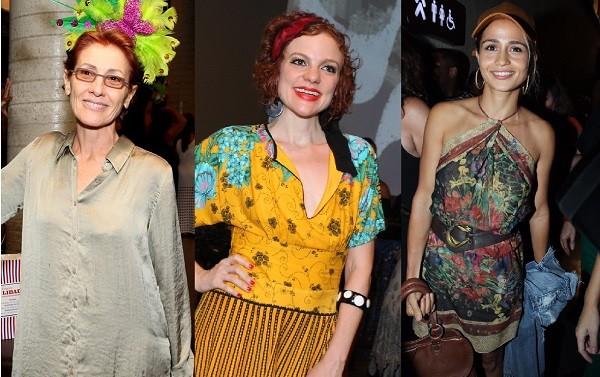 As atrizes Cássia Kis, Maria Eduarda de Carvalho e Nanda Costa prestigiaram a noite da Mangueira no Rio   (Foto: Ag News)