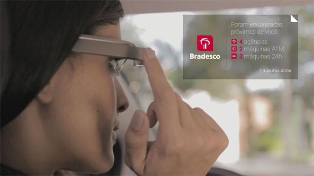 Bradesco lançou um aplicativo para Google Glass que exibe agências e caixas eletrônicos mais próximos do cliente. (Foto: Divulgação/Bradesco)