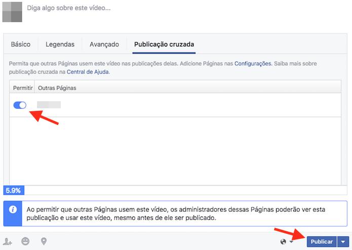 Opção para selecionar uma página para efetivar a publicação simultânea de vídeos em diversas páginas do Facebook (Foto: Reprodução/Marvin Costa)