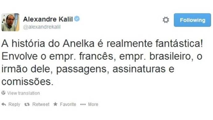 Alexandre Kali, presidente do Atlético-MG, usa o twitter para falar sobre a polêmica com Anelka (Foto: Reprodução\Twitter)
