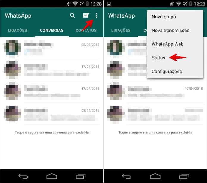 Alterando o status do WhatsApp no Android (Foto: Foto: Reprodução/Helito Bijora)