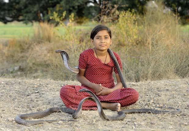 Kajol Khan decidiu seguir os caminhos do pai e virar encantadora de cobras. (Foto: Shariq Allaqaband/Barcroft India/Getty Images)