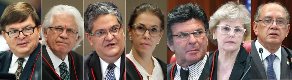 Da esquerda para a direita na foto, os ministros Herman Benjamin, Napoleão Maia, Henrique Neves, Luciana Lóssio, Luiz Fux, Rosa Weber e Gilmar Mendes (Foto: Ascom TSE)