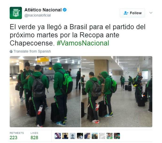Tweet Atlético Nacional recopa aeroporto (Foto: Reprodução Twitter)