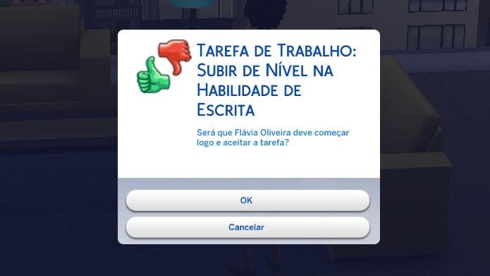 Ao trabalhar em casa, os Sims podem realizar tarefas diárias para subir de cargo (Foto: Reprodução/Tais Carvalho)