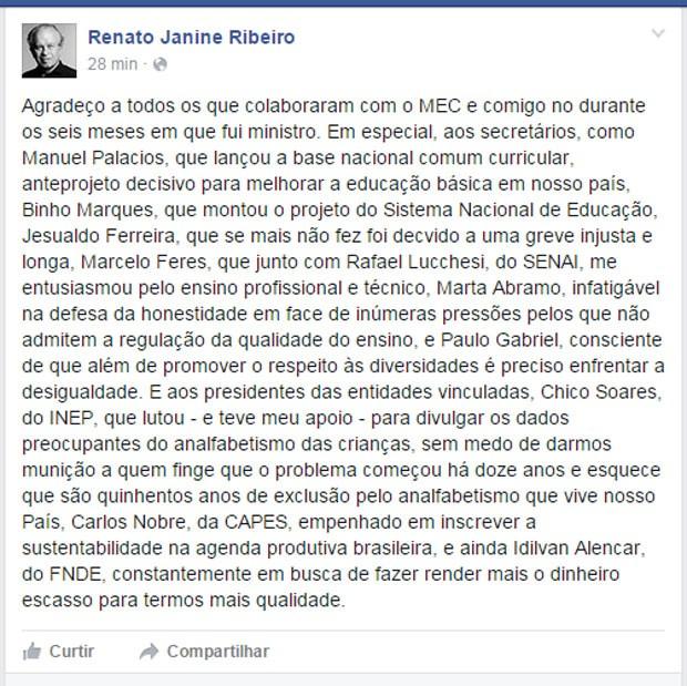 Renato Janine faz balanço da gestão em post no Facebook. (Foto: Reprodução/Facebook)