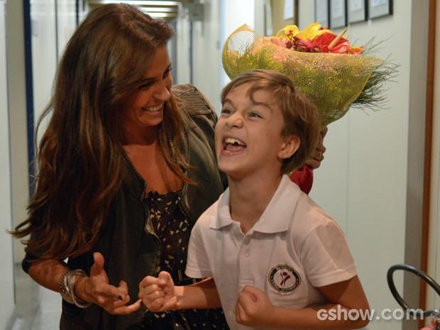 Os dois fazem festa juntos (Foto: Raphael Dias/TV Globo)