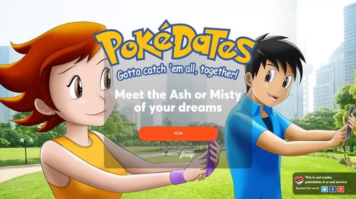 Encontre o Ash ou Misty dos seus sonhos, diz o site em referência aos companheiros de aventura do desenho animado (Foto: Reprodução/The Verge)