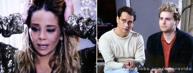 Depois de ouvir a proposta do casal, Amarilys fica aos prantos... (Foto: Amor à Vida / TV Globo)