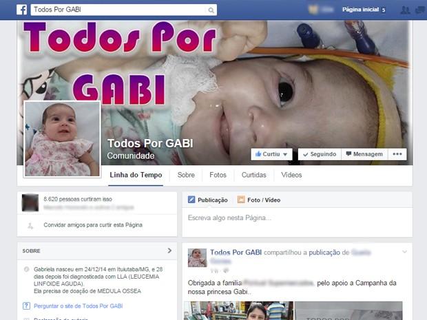 Gabriela Silva Gabi Ituiutaba família leucemia criança tratamento São Paulo (Foto: Reprodução/ Facebook)