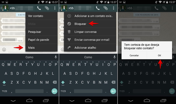 Bloqueando um contato no Android (Foto:  (Foto: Reprodução/Helito Bijora))