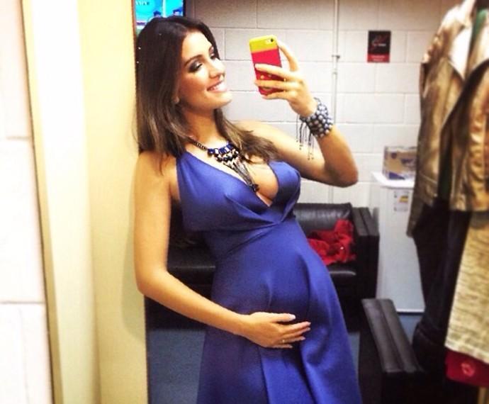 Geórgia durante a gravidez de Giovanna, nos bastidores do Caldeirão (Foto: Arquivo Pessoal)