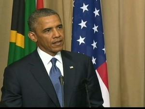 Obama se encontra com família de Mandela, mas não visita líder sul-africano no hospital (Foto: Reprodução GloboNews)
