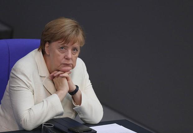 A chanceler alemã Angela Merkel em sessão para discutir a saída do Reino Unido da União Europeia (UE) (Foto: Sean Gallup/Getty Images)