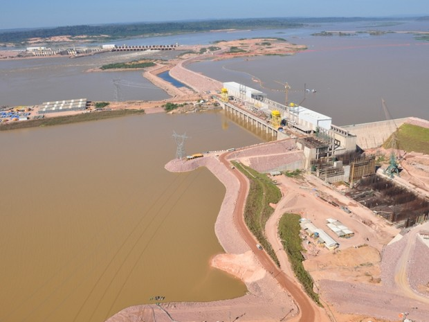Vista aérea da usina de Jirau, em Porto Velho (Foto: Divulgação)