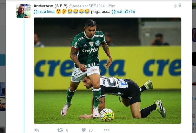 Palmeirenses rebatem provocação de Lucas Lima em rede social (Foto: reprodução / Twitter)