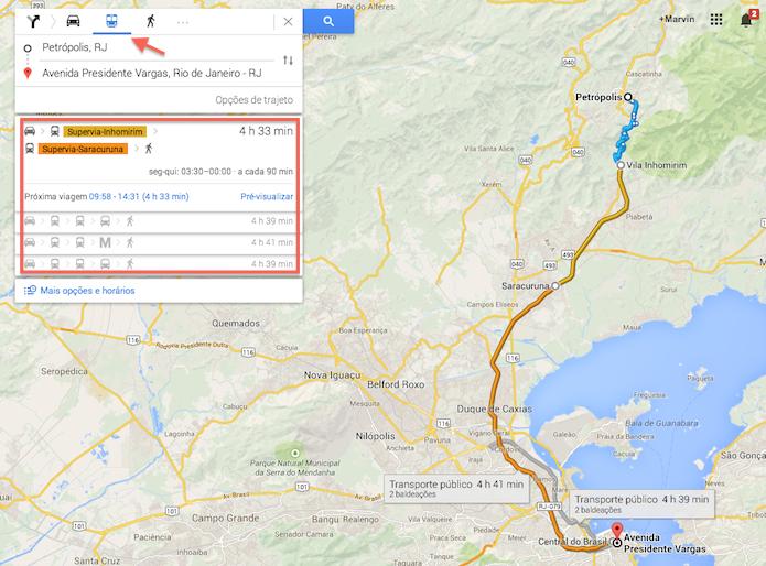 Rota do Google Maps feita através de trânsporte público (Foto: Reprodução/Marvin Costa)