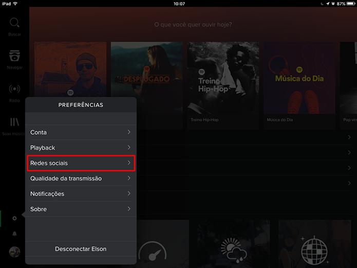 Spotify para tablet pode ocultar lista de reprodução do usuário (Foto: Reprodução/Elson de Souza)