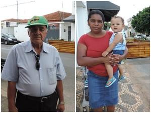 Aposentado e dona de casa opinam sobre estrutura em rua (Foto: Caio Gomes Silveira/ G1)