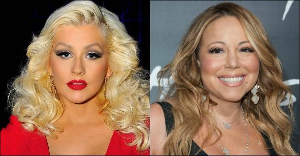 """Numa entrevista em 2006, Christina Aguilera contou que Mariah Carey não foi nada legal com ela durante uma festa, aproveitando o estado de embriaguez para disparar xingamentos. Aguilera, porém, acabou """"perdoando"""" a colega de uma maneira bem cruel, dizendo: """"Isso [o episódio dos insultos] rolou na época em que ela teve aquele colapso, então ela deve estar sendo muito medicada"""". (Foto: Getty Images)"""