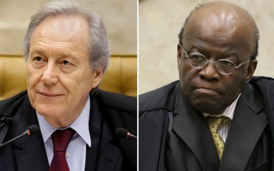 O ministro Ricardo Lewandowski e o ex-ministro Joaquim Barbosa (Foto: Fellipe Sampaio/SCO/STF )