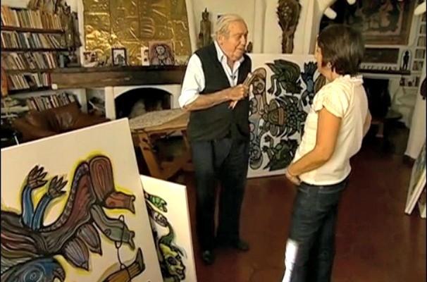 Rosane Marchetti e o artista uruguaio Carlos Vilaró (Foto: Reprodução/RBS TV)