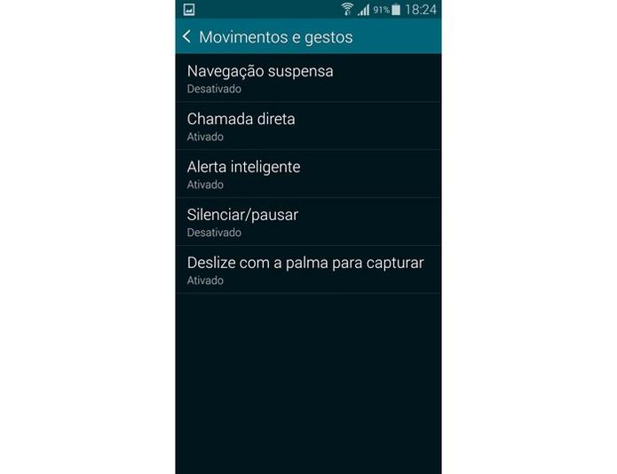 """Opção """"Deslize para capturar"""" no menu do Galaxy S5 (Foto: Reprodução)"""