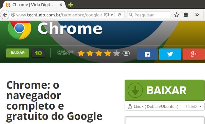 Baixando o Google Chrome para Ubuntu no TechTudo Downloads (Foto: Reprodução/Edivaldo Brito) (Foto: Baixando o Google Chrome para Ubuntu no TechTudo Downloads (Foto: Reprodução/Edivaldo Brito))